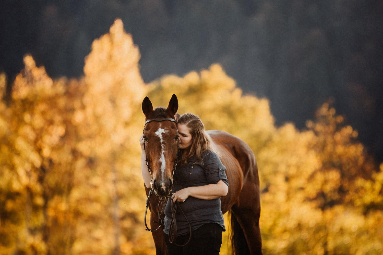Pferdeshooting in Bern Schweiz Pferdefotografin natürliche Pferdefotos altes Pferd Stute Herbst
