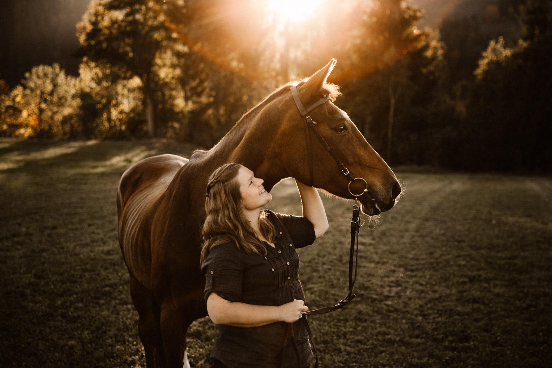 Pferdeshooting in Bern Schweiz Pferdefotografin natürliche Pferdefotos altes Pferd Stute Gegenlicht weitwinklig